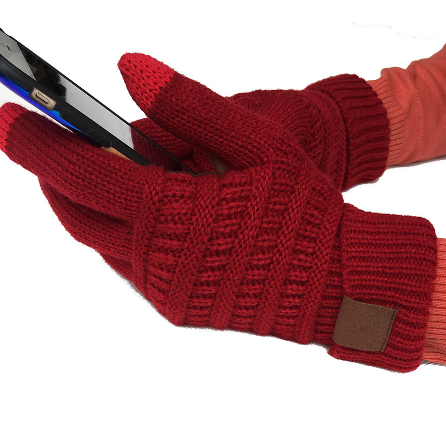Colorful Touch Screen Gloves Winter Knitted Gloves For Women Men Fashion Stretch Woolen Knit Warm Full Finger Gloves Mittens