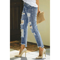 Kelce Destroyed Boyfriend Denim Dropship Jeans Are Popular to Style