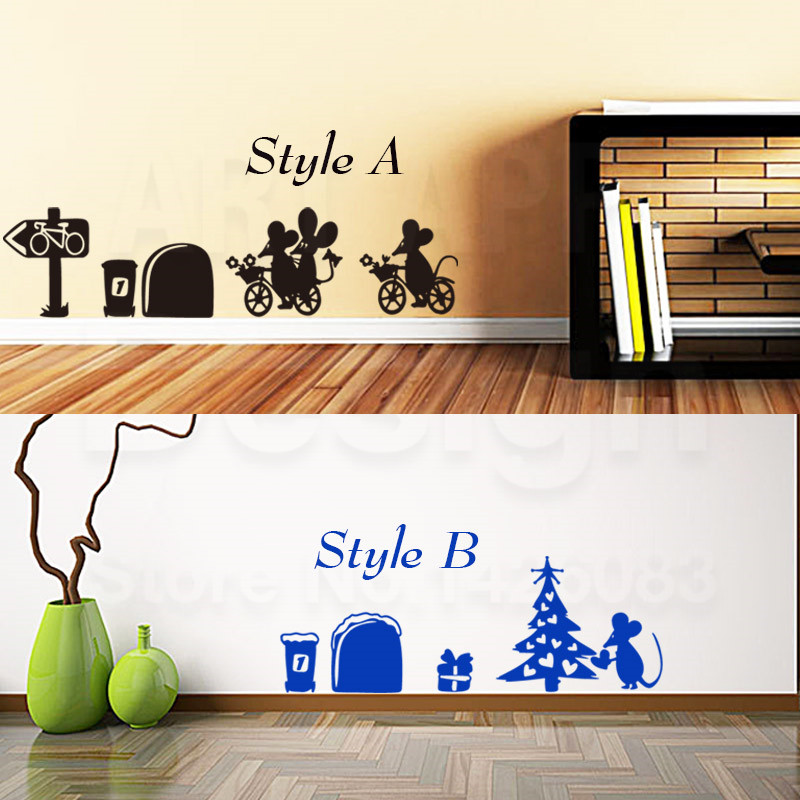 Art New Design Vinyl Home Decoration Cartoon Mouse Wall Sticker Cheap Colorful House Decor Funny Animal