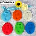 Baby Care Air Drying Soft Clay  Handprint Footprint Imprint Kit Casting Parent-child hand inkpad fingerprint 14 colors