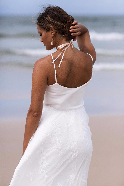 Simple Beach Wedding Dresses Lace Spaghetti Straps With Train Bohemian Wedding Dress Sexy Cheap Bridal Gowns robe de mariee 2019