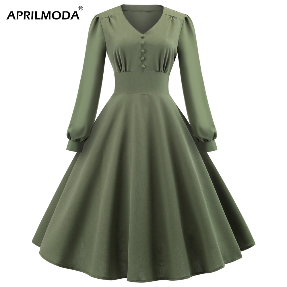2018 Green Pleated Gothic Dress For Women High Waist