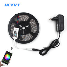 IKVVT 5M 5050 RGB WIFI LED Strip light Waterproof 10M rgb led Ribbon Tape Neon Remote Wireless Controller 12V adapter