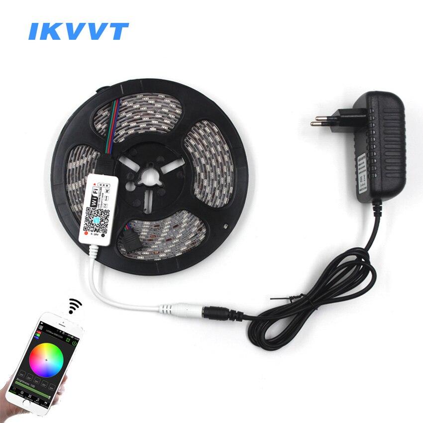 IKVVT 5M 5050 RGB WIFI LED Strip light Waterproof 10M rgb led Ribbon Tape Remote WIFI Wireless Controller 12V adapter Full Kit