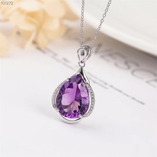 gemstone jewelry wholesale classic 925 sterling silver natural purple crystal amethyst charm necklace pendant fro female