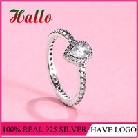 LS High Quality 100 Real 925 Sterling Silver Radiant Teardrop Ring Clear CZ For Women Wedding