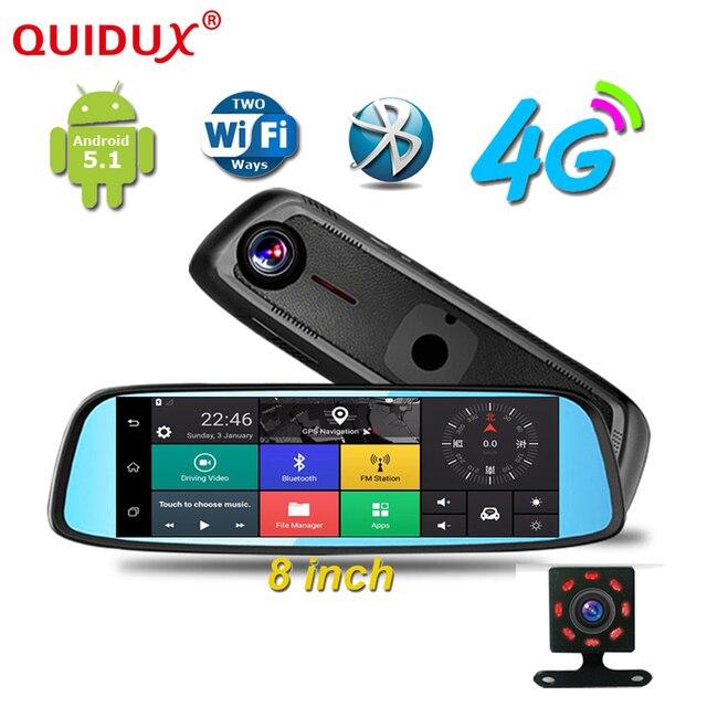 a84f62dde973 QUIDUX 8 pulgadas GPS DVR Cámara espejo 4G táctil IPS Bluetooth WIFI Android  5