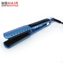 Wholesale prices High quality professional Nano Titanium Fast Hair Straightener Flat Iron adjust temperature wet and dry Blue 110-240V