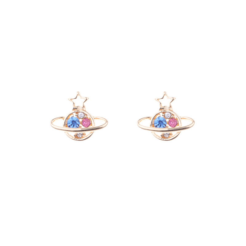 2018 Hot Sale Cute Star Universe Planet Shape Mini Studs Earrings For Women Lovely Personality Korean Fashion Brincos