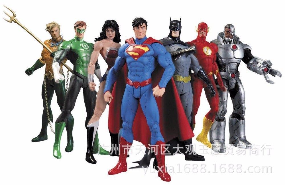 7pcs/set Justice League Superman Wonder Flash Batman Lantern Anime Action Figure PVC toys Collection figures for friends gifts 7pcs set justice league 14cm super hero superman batman flash neptune wonder woman action figure toys
