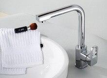 Кухня Поворотный Смеситель Для Мойки Нажмите Кран Хром Латунь одной ручкой смесители для кухни аксессуары