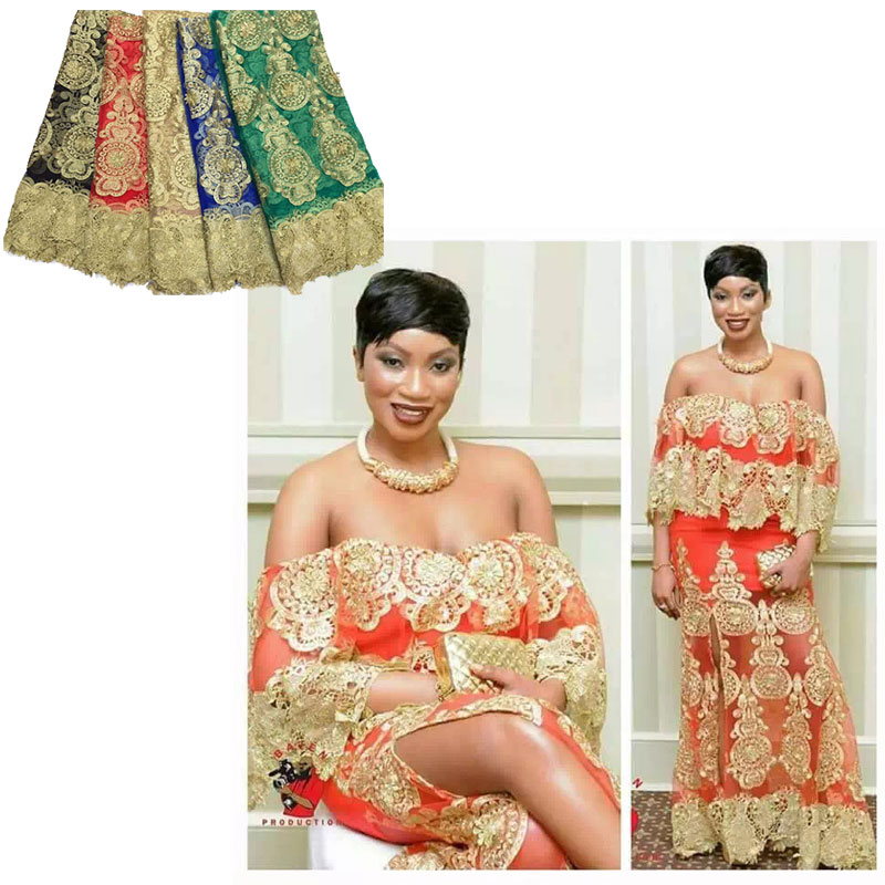 Polyester swiss golden embroidered lace fabric for nigerian wedding dress  5color n1601065 cdc4a79a0