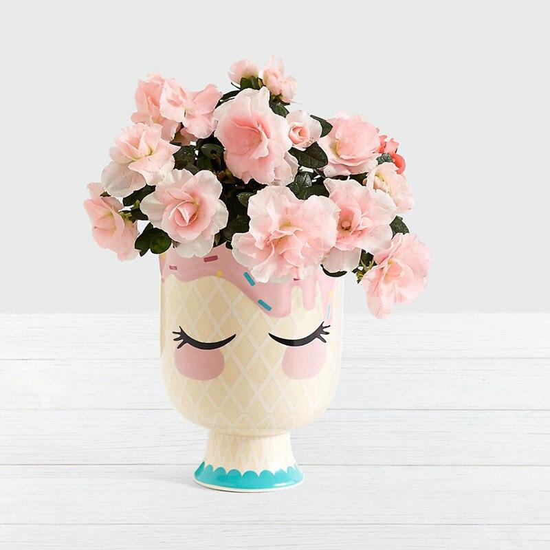 Fille en céramique Vase visage Vase Pot décoration de la maison cadeau Art Pots de fleurs jardinières R986
