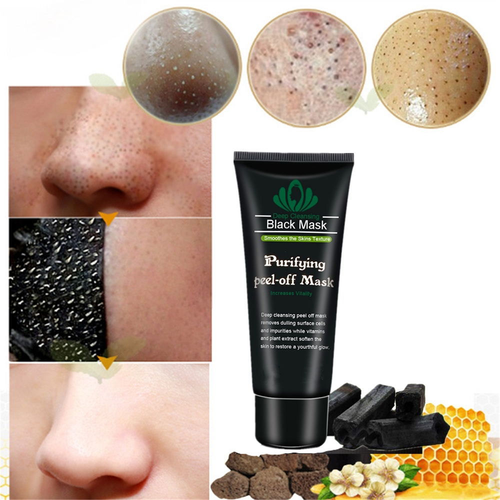 DISAAR Black Mask Peel Off Bamboo Charcoal Blackhead Remover Mask Deep Cleansing For AcneScars Blemishes Neck Wrinkles Cream