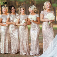 2018 Mermaid Bridesmaid Dress with Sequins Short Sleeve Backless Wedding Party Dress Women Bridesmaid Dresses