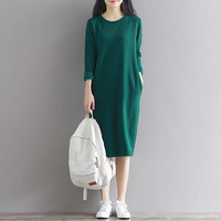 2019 Fashion women Autumn dress,thickening warm long sleeve winter dress with pockets,plus size women winter basic dress 5XL 6XL