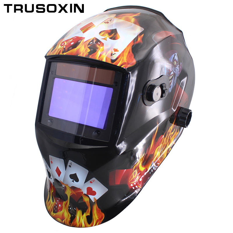 Gamblers Out adjust Big view 4 arc sensor grinding DIN5-DIN13 Solar auto darkening TIG MIG MMA welding mask/helmet/welder cap din7 din12 shading area solar auto darkening welding helmet protection face mask welder cap for zx7 tig mig welding machine