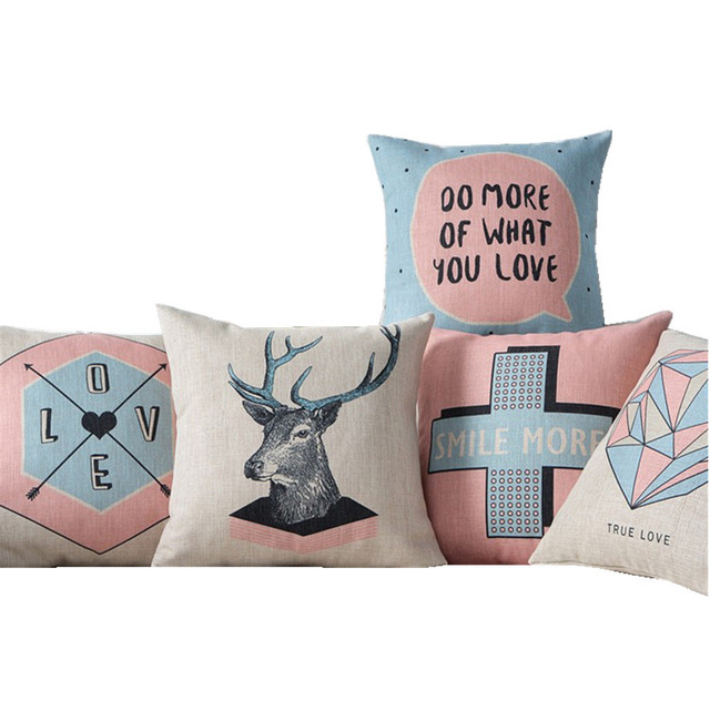 Free shipping pink nordic deer cross linen cotton pillow smile more home decor cushion decorative throw