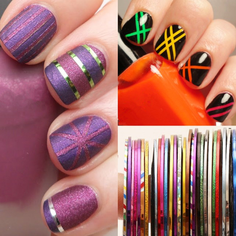 30 Pcs 0.5mm Nail Striping Tape Set Line DIY Nail Art Adhesive Decal Manicure Nail Art Decoration Styling Tool Set beauty girl 2017 wholesale excellent 48bottles 3d decal stickers nail art tip diy decoration stamping manicure nail gliter