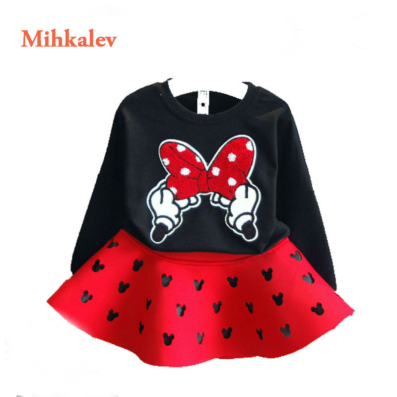 Mihkalev Girls Clothing Sets 2018 spring baby girl sport suits for children tracksuits t shirt +skirts girls 2pcs clothes suits