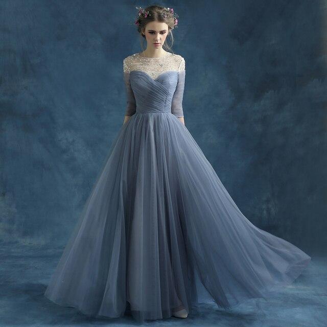 Abendkleider grau blau