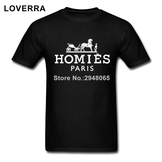 Algodón Homies Paris Camiseta Los Hombres de Manga Corta