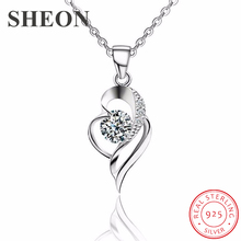 SHEON Heart Necklace 100% 925 Sterling Silver Simple Love Heart Zircon Pendant Necklaces For Women Wedding & Engagement Jewelry цена и фото