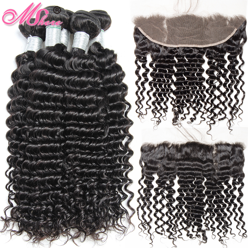 Lace Closure With Bundles Lace Frontal Human Hair Bundles With Closure Deep Curly Hair Peruvian 3