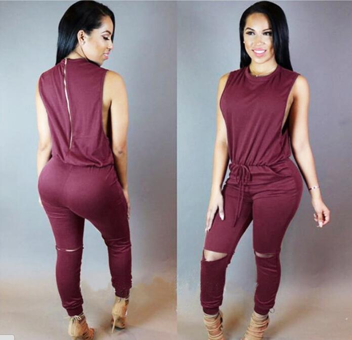 2019 Summer Sexy Women   Jumpsuits   Sleeveless Drawstring Hollowed-out Sexy   Jumpsuits