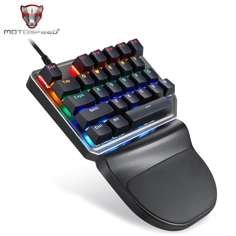 все цены на Motospeed K27 USB Wired Singlehanded Mechanical Keyboard with Blue Switch Backlight 1.5m Cable Working Gaming Keyboard