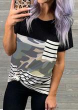 купить Women Short Sleeve Basic T-Shirt Striped Splicing Pocket Tee Shirt top Camouflage Female harajuku Vintage Baseball Tshirt по цене 586.72 рублей