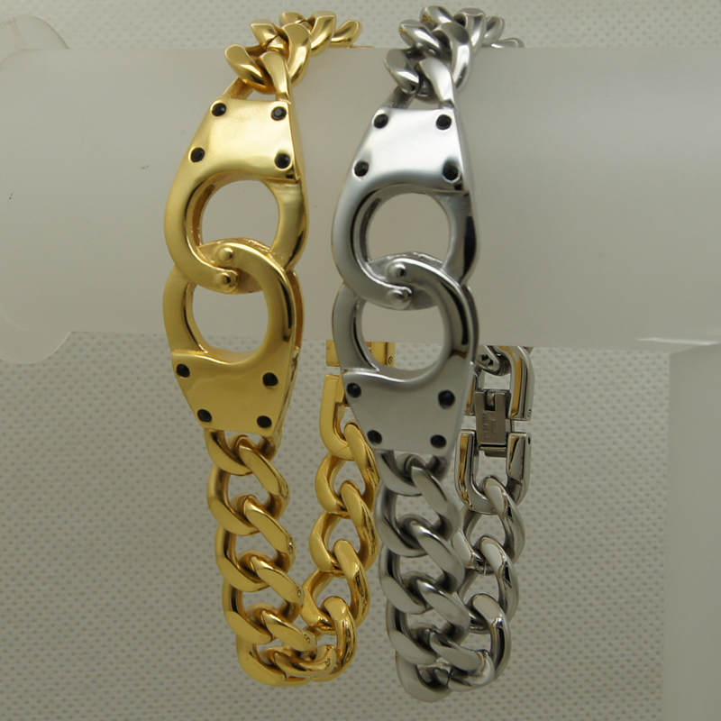 cool 8.66 silver/gold plating handcuffs curblink 316L stainless steel bracelet