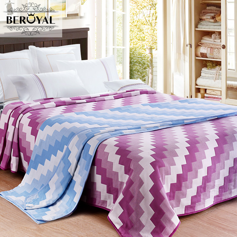 Beroyal Brand Throw Blanket - 1piece 200*230cm 100% Cotton Blankets Four Layers Gauze Plaid Blanket Adult Super Soft Blanket new 2017 throw blanket 1piece 150 200cm 100