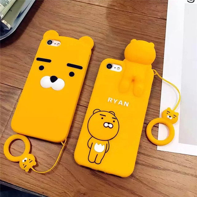 9992c00444 3D Silicone Soft Cartoon Case For iPhone X 6 6s 7 8 Plus Korean Ryan Phone  Cases For iPhone 6 6s Plus Cover Case Cute Cartoon