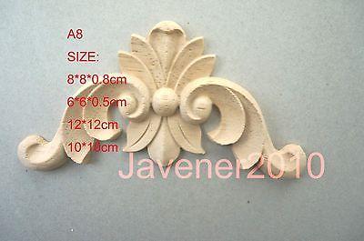 A8-6x6x0.5cm Wood Carved Corner Onlay Applique Unpainted Frame Door Decal Working Carpenter Decoration