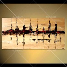 Dusk tall urban silhouette reflected in the lake yellow gold sky  water beautiful landscape hand painted oil painting canvas