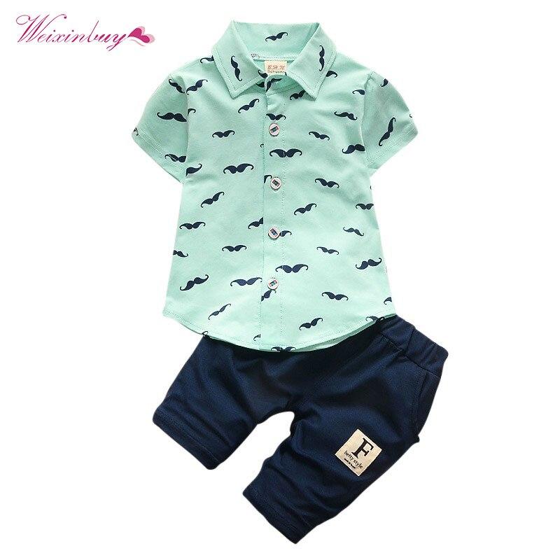 Ropa del bebé Bebe moda camiseta + Pantalones sólidos conjunto del verano del cabrito niño niños algodón chándal ropa