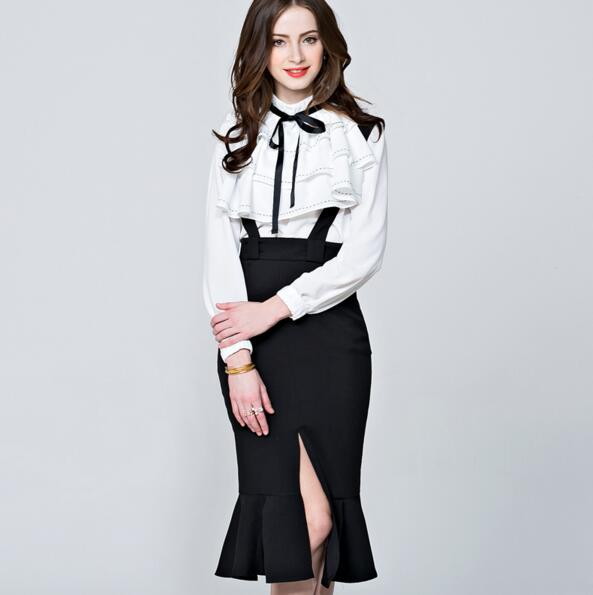 [New Sale]  Spring Women's Long-sleeve Shirt Fashion All-match Loose Top Bow Casual Solid Color Basic Shirt Black White Red