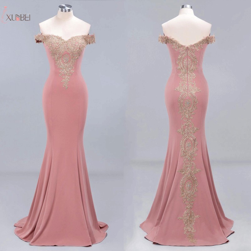 Long Prom Dresses Pink Mermaid 2019 Lace Applique Off The Shoulder Sleeveless Prom Gown vestidos de gala title=