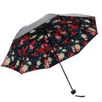 Sıcak Satış Taşınabilir Katlanır Şemsiye Klasik Moda Amfibi Güneş Koruyucu Şemsiye Anti UV Güneş Siyah Kaplama Şemsiye HG0125