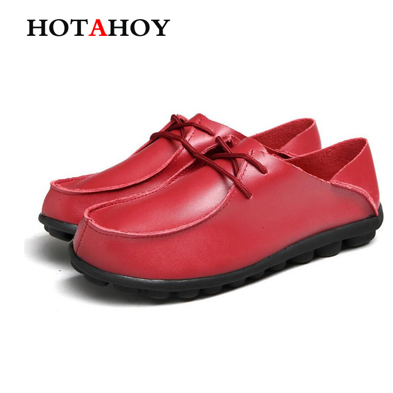 HOTAHOY Genuine Leather Women Vintage Peas Shoes Flats Loafers Slip on Women s Flat Shoes Moccasins