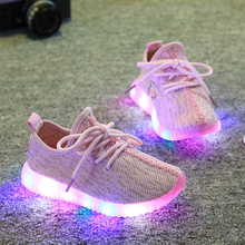 Hot 2016 New Autumn Breathable Kids LED light Sneakers Children Air Mesh Colorful Flashing Boys Sports Shoes for girls 21~35