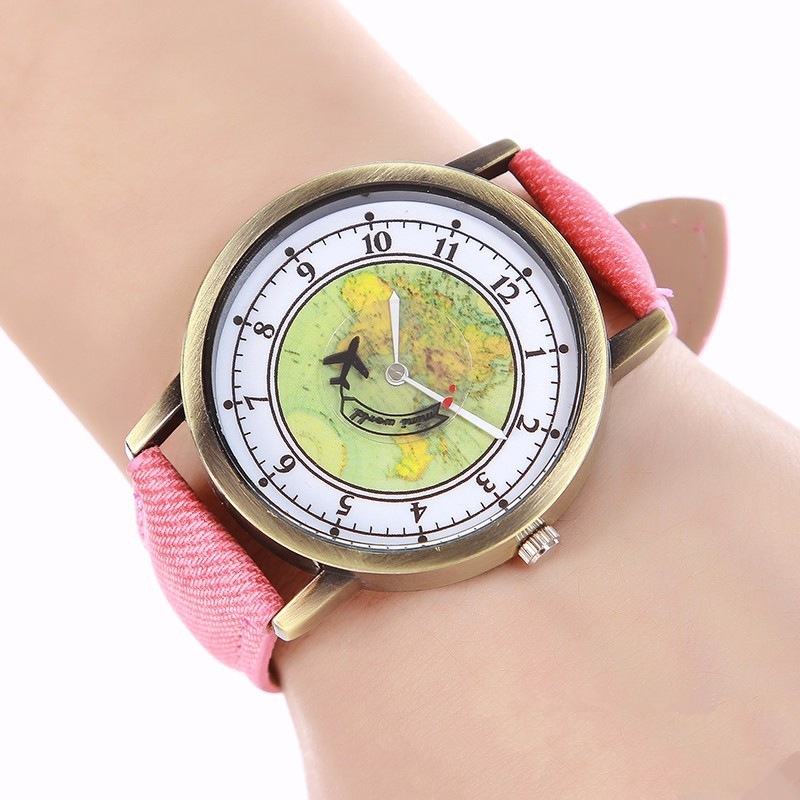 цена на British style Fashion Ladies Unique Creative Watch Women Quartz Wristwatch Leather Casual Clock Hours Female airplane Dial Watch