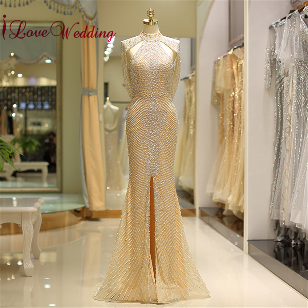 Luxurious 2018 Evening Dress Halter Heavy Major Beaded Champagne Custom made Open Back Formal Long Evening Gown Real Photo