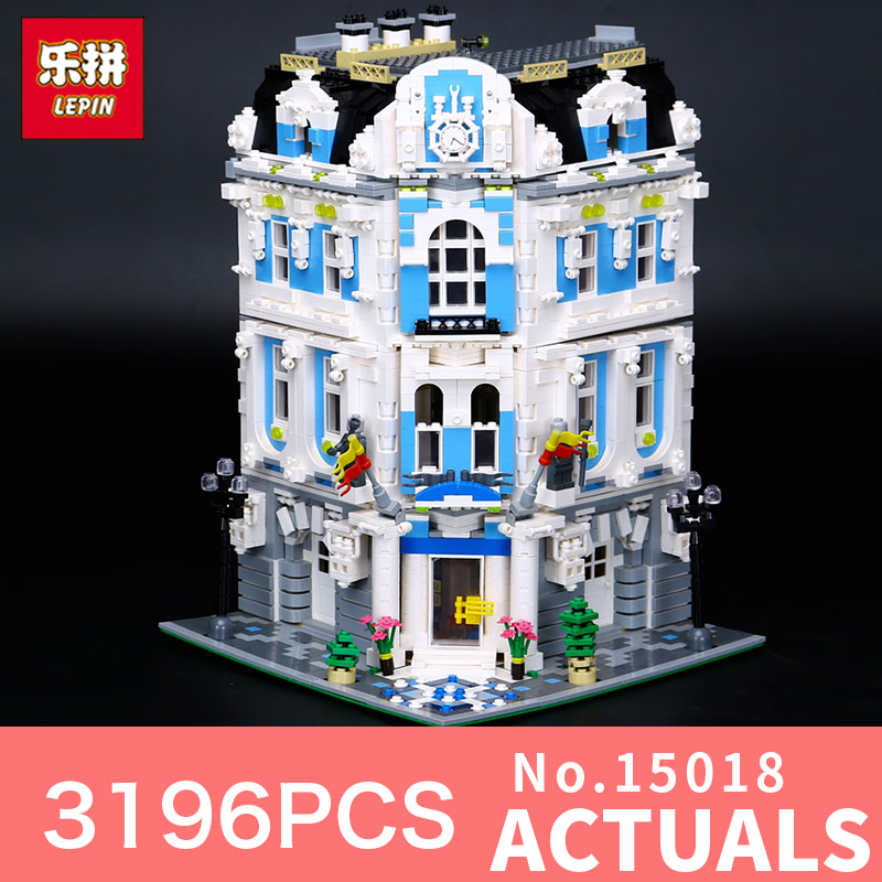 3196Pcs Lepin 15018 Street view City Series MOC The Sunshine Hotel Set Building Blocks Bricks Educational Toys to children new 3196pcs lepin 15018 moc city series the sunshine hotel set building blocks bricks educational toys diy children day s gift