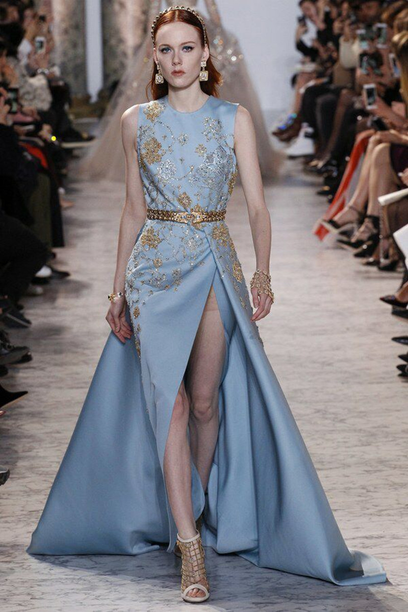 SML 2017 Appliques Elie Saab Evening Dresses Long With Belt Sexy ...