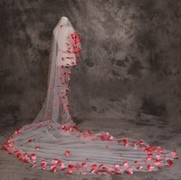 Red Flower 5 Meters Long Wedding Veils White Ivory Bridal Veil Cathedral Brides Cheap Wedding Accessories 2016 Voile Mariage