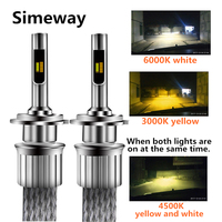 2PCS Auto LED 9012 Headlight 90W 11000lm 12V 24V auto D2S D4S D2H headlights light Tricolor car H1 H3 H4 H7 H11 9005 9006 bulbs