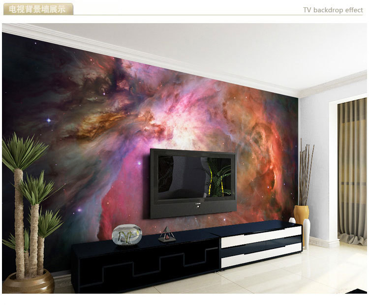Mural starry sky background 3D 3D wallpaper murals Nebula large living room TV personality 3D wallpaper bedroom zenith roof