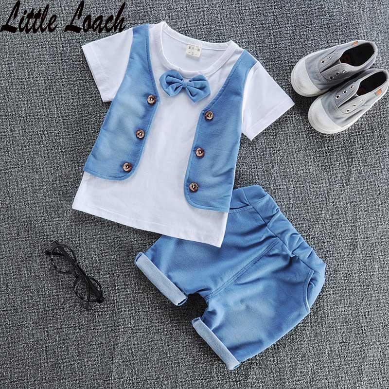 0-4Years Boys Girls Fashion Clothing Set Little Gentlemen Summer Hip Hop Clothes Childrens Sports Suits Tshirt+Half Pants 2pcs